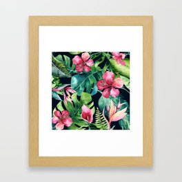Dark Tropical Hibiscus & Leaves Framed Art Print
