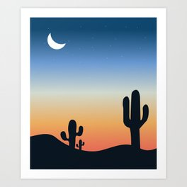 Night and shadows of cactus, desert climate , sun and sand ,cactus ideas, cactus not a hugger Art Print
