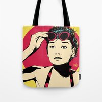 audrey Tote Bags featuring Audrey by Vee Ladwa
