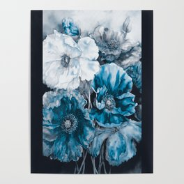 BLUE FLOWERS PAINTING - 180818/1 Poster