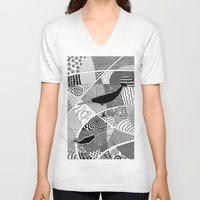 narwhal V-neck T-shirts featuring Narwhal by K J Guindon