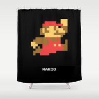 video game Shower Curtains featuring Lab No.4 -Mario Video Game Quotes,Poster by Lab No. 4
