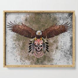 Indian Native Flaying Eagle Sugar Skull Serving Tray
