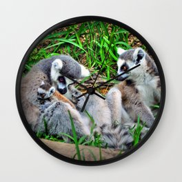 The Lemur Family  Wall Clock