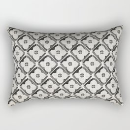 Moroccan Boho Black & White Pattern Rectangular Pillow