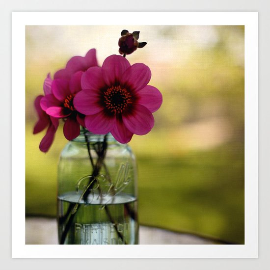 Dahlias In A Blue Jar Art Print