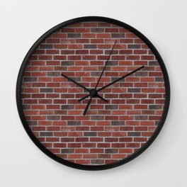Brick Wall with Mortar - Red White Wall Clock