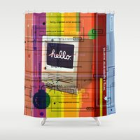 mac Shower Curtains featuring Hello Mac by Roberlan Borges