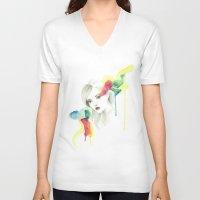 gemma V-neck T-shirts featuring Gemma Ward by Simona Borstnar