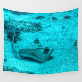 Sting ray taking a bath Wall Tapestry