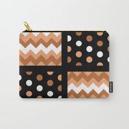 Black/Two-Tone Burnt Orange/White Chevron/Polkadot Carry-All Pouch