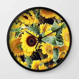 Happy Sunflowers Wall Clock