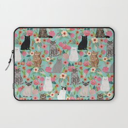 Cats floral mixed breed cat art cute gifts for cat ladies cat lovers pet art Laptop Sleeve
