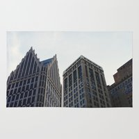 detroit Area & Throw Rugs featuring Downtown Detroit by Michelle & Chris Gerard