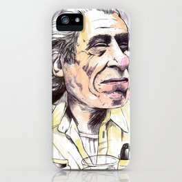 Charles Bukowski portrait in watercolor and ballpoint by McHank iPhone Case