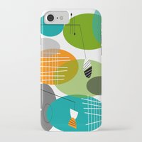 mid century modern iPhone & iPod Cases featuring Mid-Century Modern Atomic Ovals by Kippygirl