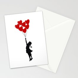Girl With Heart Balloons Stationery Cards