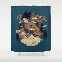 dragonball Shower Curtains featuring woodblockkakarot by Louis Roskosch