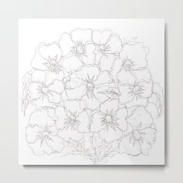 Floral Abstract Sketch Metal Print