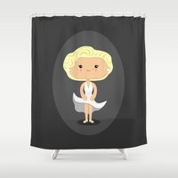 marilyn Shower Curtains featuring Marilyn by Sombras Blancas Art & Design
