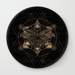 Hawk head in Sacred Geometry Composition - Black and Gold Wall Clock