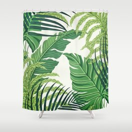 Green tropical leaves II Shower Curtain