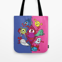 Monsters under the zipper Tote Bag