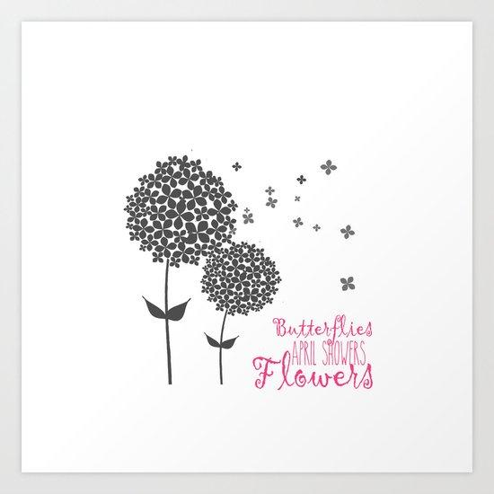 Butterflies Flowers and April Showers  Art Print