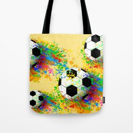 Football soccer sports colorful graphic design Tote Bag