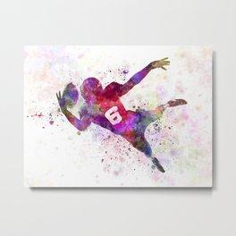 american football player catching ball Metal Print