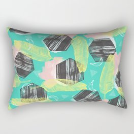 Marble geometric with banana leaves Rectangular Pillow