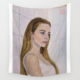 Girl in a Bathroom Wall Tapestry