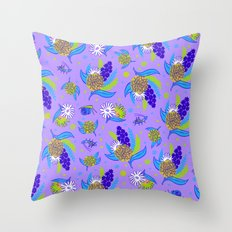 Picnic Pals bouquet in blueberry Throw Pillow