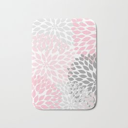 Pink Gray Dahlia Floral Bath Mat