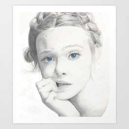 Elle Fanning Blue Eyes Art Print
