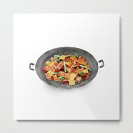 Watercolor Illustration of Chinese Cuisine - Guilin braised chicken with brown sauce | 桂林黄焖鸡 Metal Print