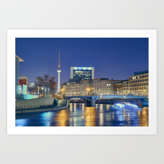 Berlin. Spree at night Art Print