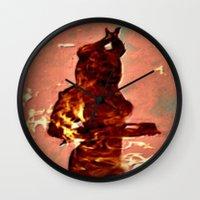 devil Wall Clocks featuring Devil by Eve Divyn
