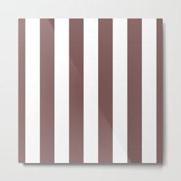 Mauve Purple Puce and White Cabana Stripes Metal Print