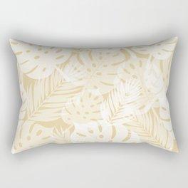 Tropical Shadows - Beige / White Rectangular Pillow