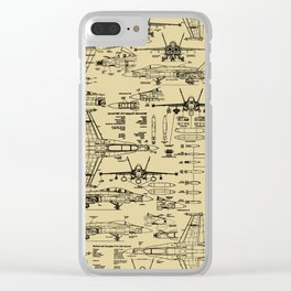 F-18 Blueprints // Tan Clear iPhone Case
