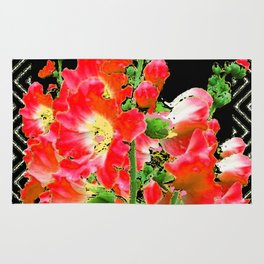 Modern Art Reddish Pink Colored Hollyhocks Black-white Pattern Rug