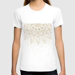 Elegant Gold Mandala Confetti Design T-shirt