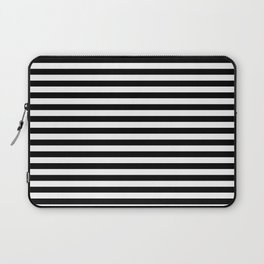 Midnight Black and White Horizontal Deck Chair Stripes Laptop Sleeve