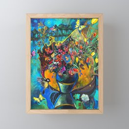 Flowers in Blue Landscape Framed Mini Art Print
