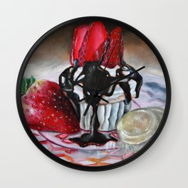 Celebration In Pink Cupcake Painting Wall Clock