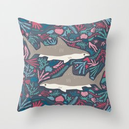 Folk Sharks Throw Pillow