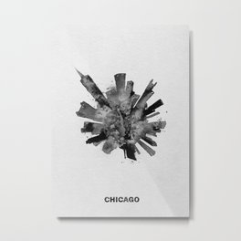 Chicago, Illinois Black and White Skyround / Skyline Watercolor Painting Metal Print