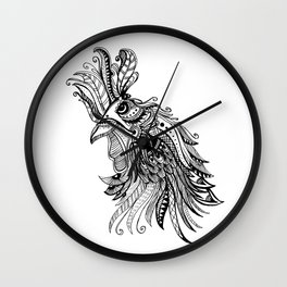 Zentangle Rooster Wall Clock