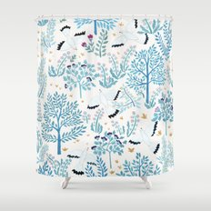 white birds garden Shower Curtain